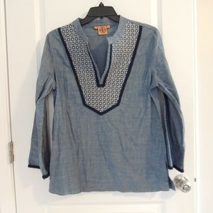 Tory Burch 14 Tunic Top Shirt Embroidered Chambray